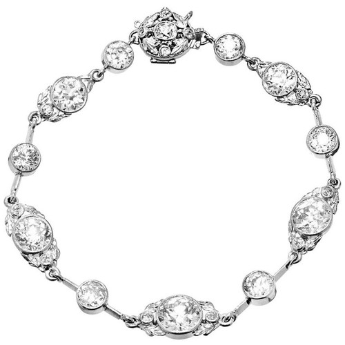 14.40 Carat Victorian  Diamond Platinum Bracelet