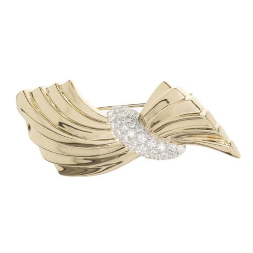 Van Cleef & Arpels 1.60 Carat Diamond Swirl Yellow Gold Brooch