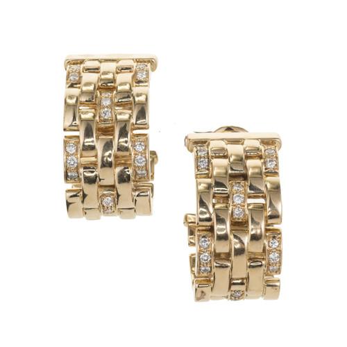 Cartier Maillon Panthere .50 Carat Diamond Yellow Gold Hoop Earrings