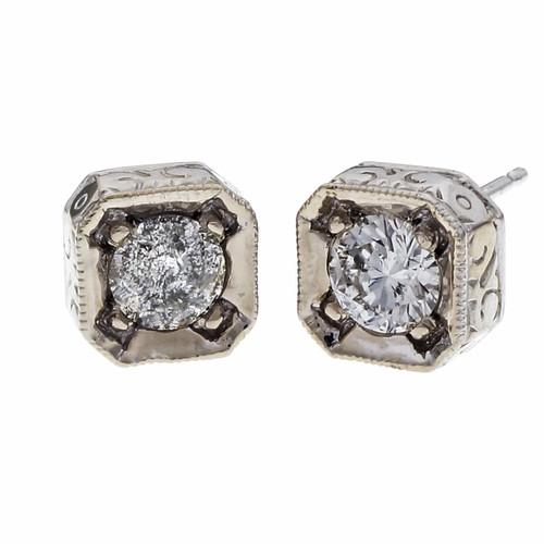 Peter Suchy .80 Carat Diamond White Gold Stud Earrings
