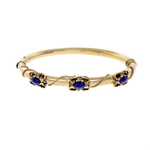 Lapis Yellow Gold Hinged Bangle Bracelet