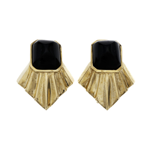 Black  Cabochon Onyx Yellow Gold Earrings