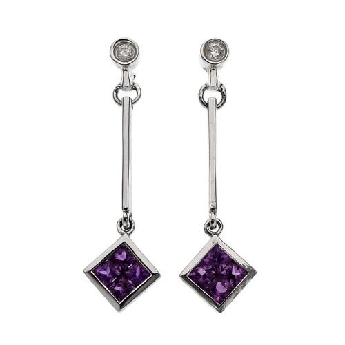 .75 Carat Pink Sapphire Diamond White Gold Dangle Earrings