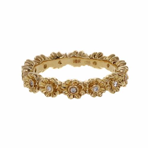 .10 Carat Diamond Rose Gold Flower Eternity Band Ring