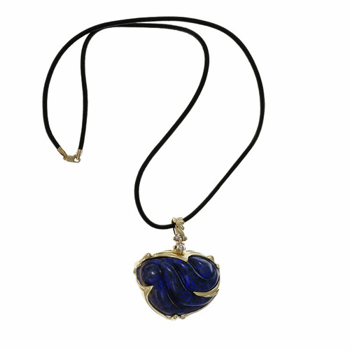 Peter Suchy 70.00 Carat Carved Black Opal Yellow Gold  Pendant