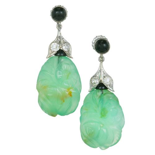 Art Deco GIA Certified Chalcedony Black Onyx Diamond White Gold Dangle Earrings