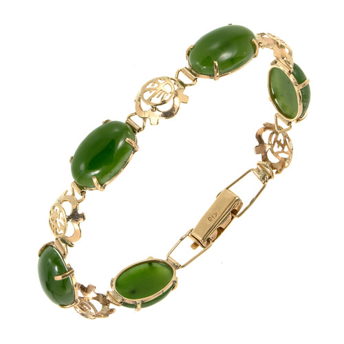 Nephrite Jadeite Jade Rose Gold Bracelet