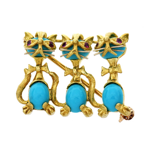 Turquoise Ruby Yellow Gold Three Cat Brooch