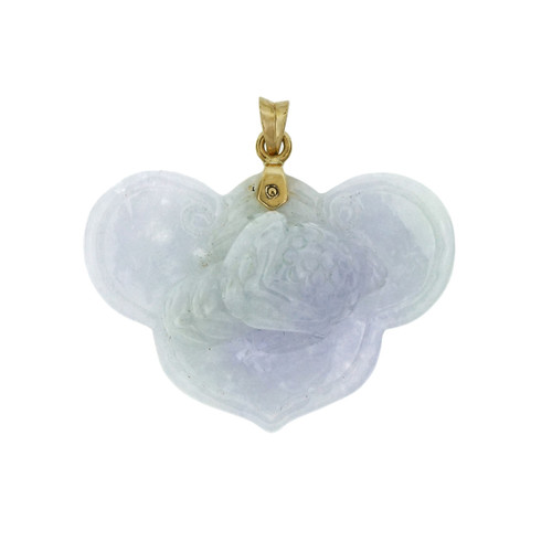 GIA Certified Light Purple Jadeite Jade Natural Carved Yellow Gold Pendant