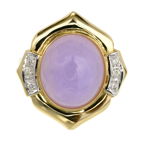 GIA Certified Purple Jadeite Jade Diamond Yellow Gold Cocktail Ring