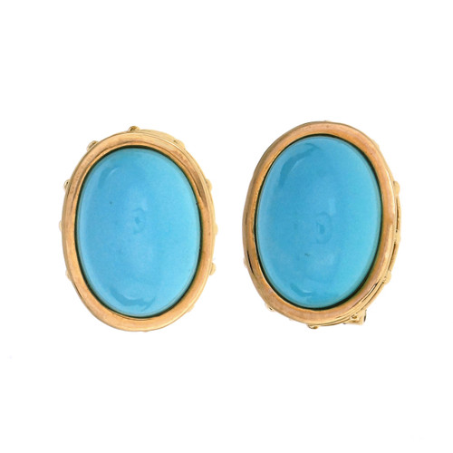 Eustrician Byzantine Natural Turquoise Yellow Gold Earrings