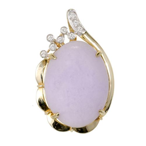 GIA Certified   Purple Jadeite Jade Diamond Pendant