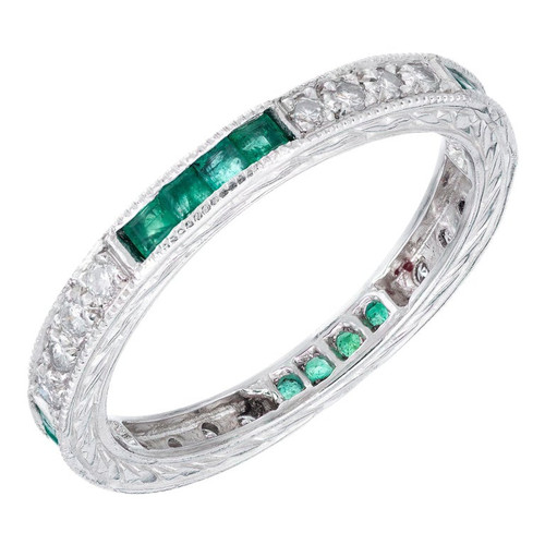 Peter Suchy .33 Carat Emerald Diamond Platinum Wedding Band Ring