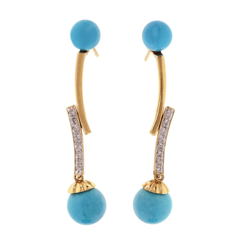 GIA Certified Bright Blue Turquoise Diamond Dangle Earrings