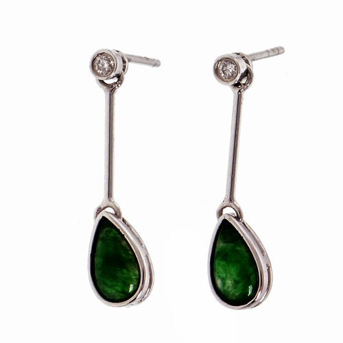 GIA Certified Jadeite Jade Diamond White Gold Dangle Earrings