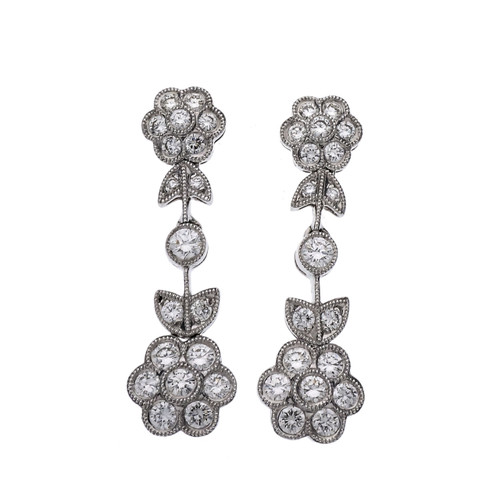.80 Carat Diamond White Gold Dangle Earrings