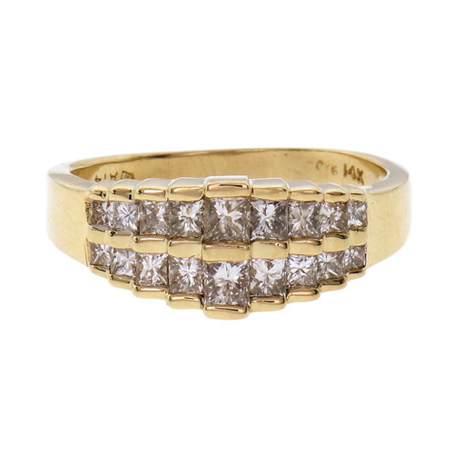 1.50 Carat Diamond  Yellow Gold Unisex Two Row Band Ring