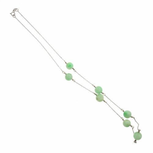 GIA Certified Jadeite Jade Green White Gold Bead Necklace