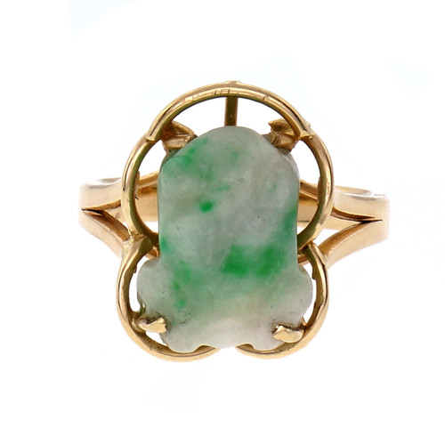 GIA Certified Mottled Green Natural Jadeite Jade Carved Frog Yellow Gold Ring