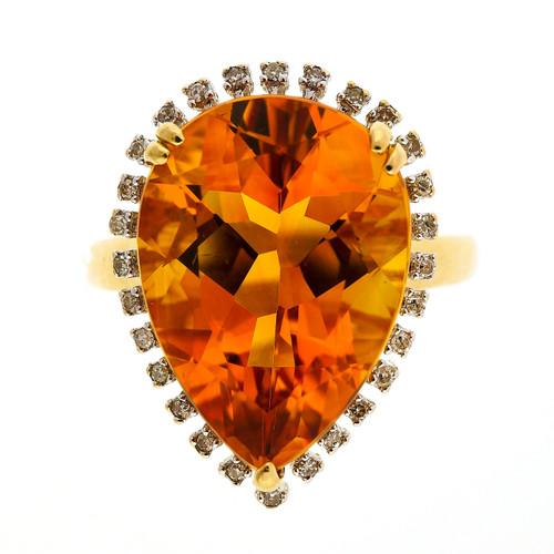 Vintage 1960 6.00ct Citrine Diamond 14k Yellow Gold Diamond Ring