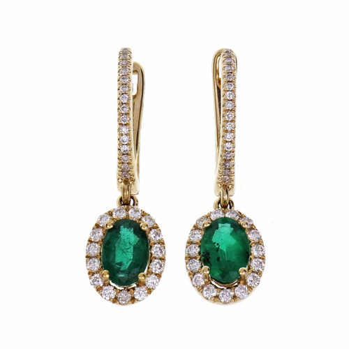 GIA Certified 1.02 Carat Emerald Diamond Yellow Gold  Hoop Earrings