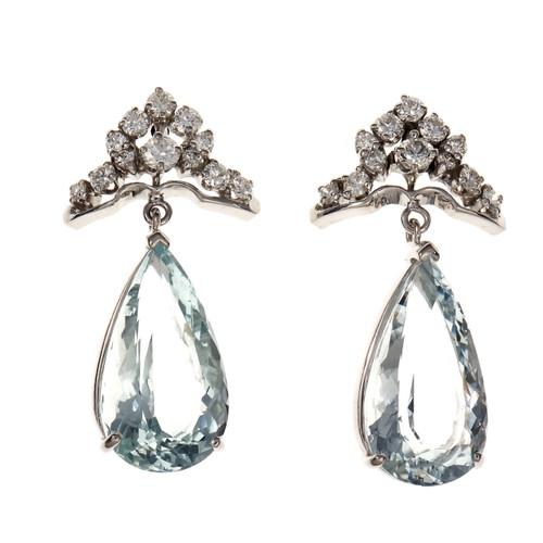 12.33 Carat  Aqua Diamond White Gold Dangle Earrings