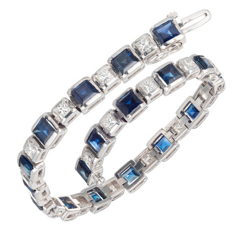 7.52 Carat Blue Sapphire Diamond White Gold Hinged Link Bracelet