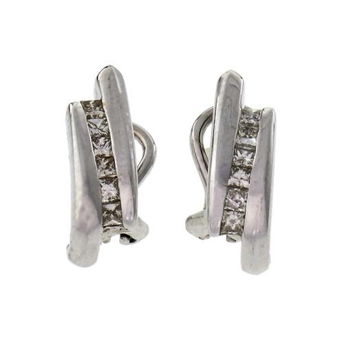 .60 Carat Diamond White Gold Channel Set Earrings