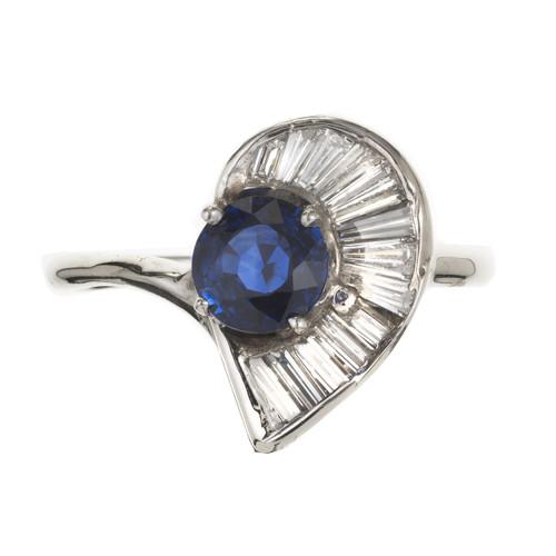 GIA Certified .98 Carat Blue Sapphire Diamond White Gold Swirl  Ring
