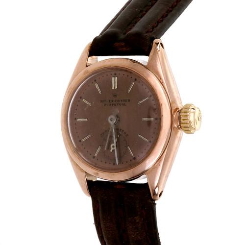 Rolex Rose Gold Bubble Back Ladies Wristwatch