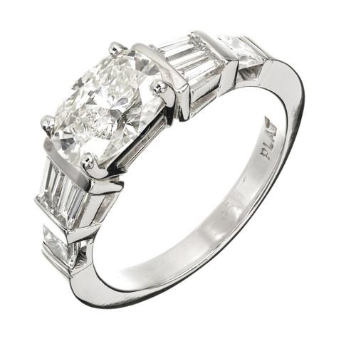 Peter Suchy Oval Diamond Engagement Ring Princess Cut Platinum Baguette