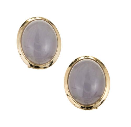 GIA Certified Natural Purple Jadeite Jade Yellow Gold Earrings