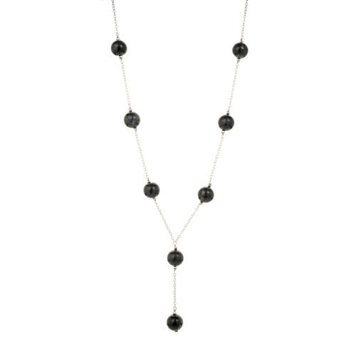 GIA Certified Natural Black Jadeite Jade White Gold Bead Necklace