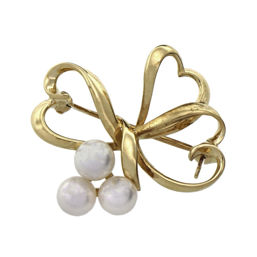 Mikimoto Cultured Pearl Yellow Gold Heart Brooch