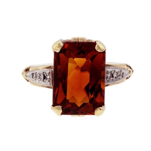 5.15 Carat Orange Citrine Diamond Yellow Gold Ring