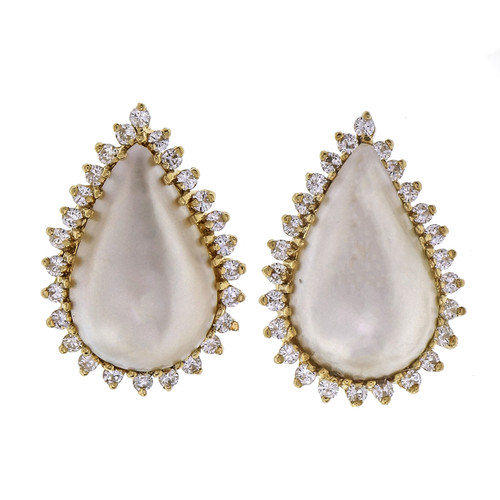 1.04 Carat Diamond Mobe Pearl Yellow Gold Earrings
