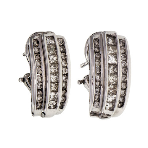 1.00 Carat Diamond White Gold Channel Set Earrings