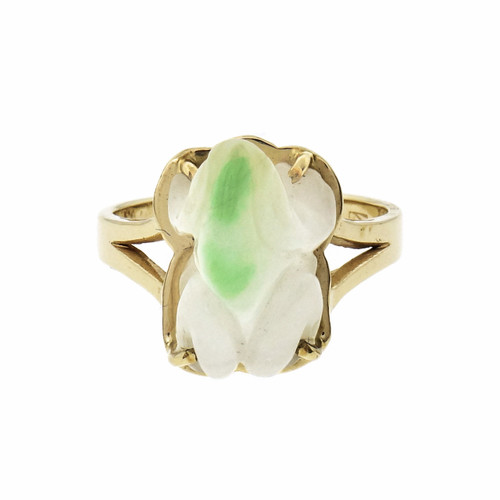 GIA Certified Mottled White & Green Natural Jade Yellow Gold Carved Frog Ring