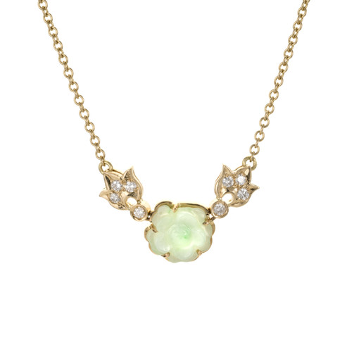 .16 Carat Diamond Jadeite Jade Yellow Gold Flower Necklace