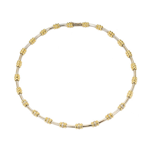 .20 Carat Diamond Yellow and White Gold Italian Necklace