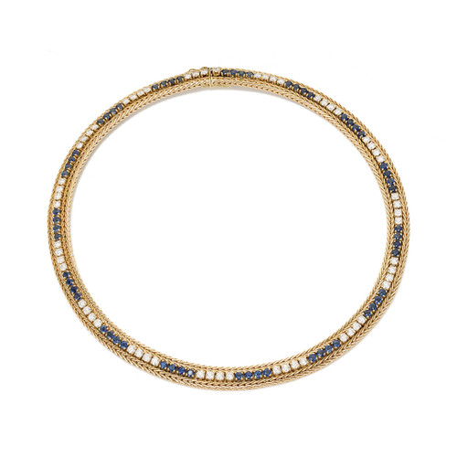 5.40 Carat Diamond Sapphire Yellow Gold Necklace