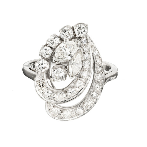 1.23 Carat Diamond Platinum Swirl Cocktail Ring