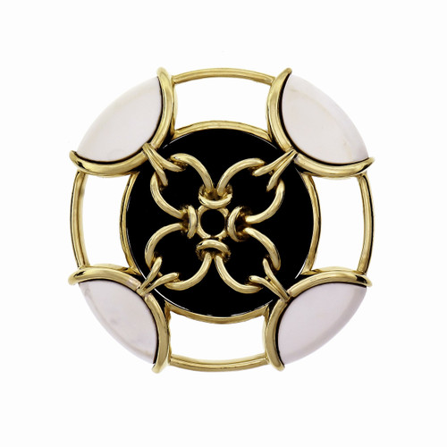 Tiffany & Co Onyx Yellow Gold Pristine Brooch Pin Pendant