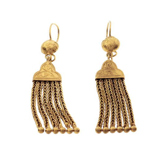 Victorian Revival Yellow Gold English Tassel Dangle Earrings