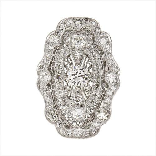 Art Deco 1.56 Carat Diamond Platinum Filigree Ring
