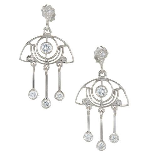 Vintage Art Deco 1940 Open Work .64ct Diamond Dangle Platinum Earrings