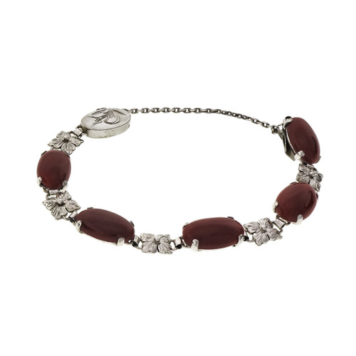 GIA Certified Red Coral White Gold Bracelet