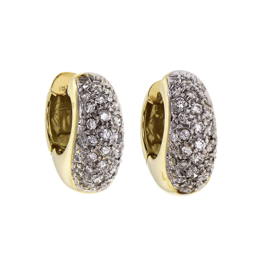 .75 Carat Diamond Yellow White Gold Huggie Hoop Earrings