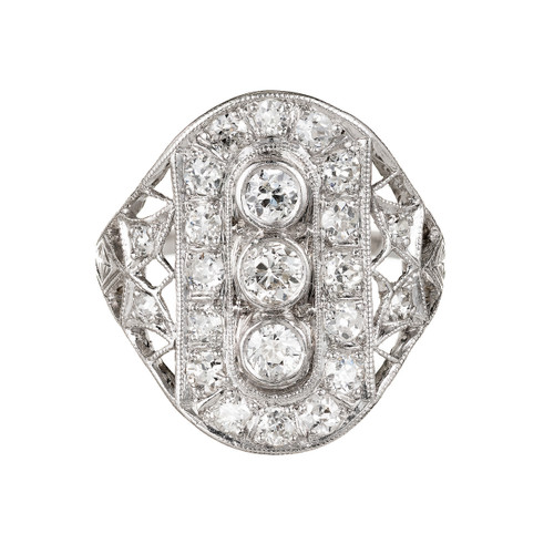 Vintage Art Deco Old European Cut Diamond Ring Platinum