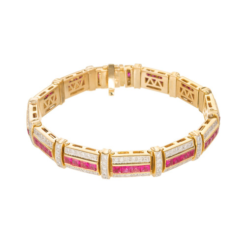 9.60 Carat Ruby Diamond Yellow Gold Channel Set Bracelet